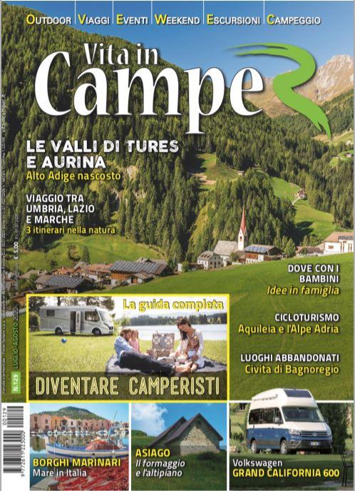 Vita in camper: copertina del numero 129 che contiene la nostra intervista
