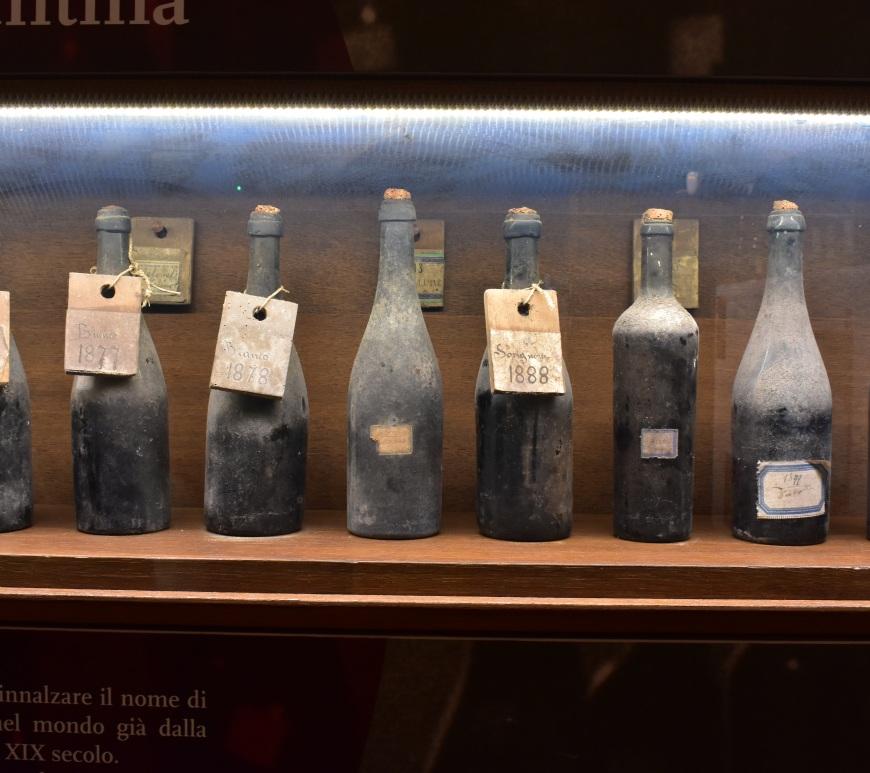 Bottiglie antiche al Museo del Vino di Sala Baganza